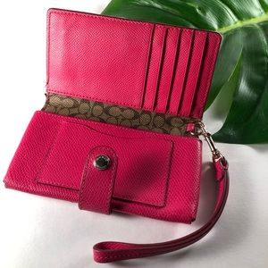 Coach Bags - Coach Small Hot Pink Leather Bifold Wallet